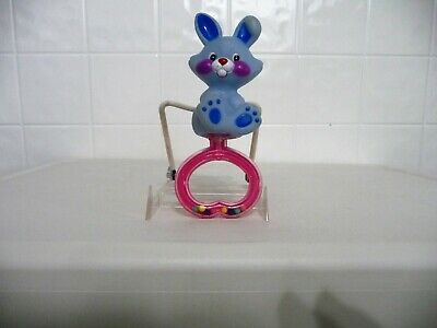 Blue Plastic Bunny Rabbit on Pink and Clear Handle Baby Rattle (USED)