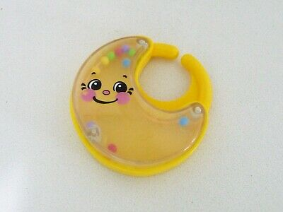 Yellow with Clear Plastic Crescent Moon Baby Rattle (USED)