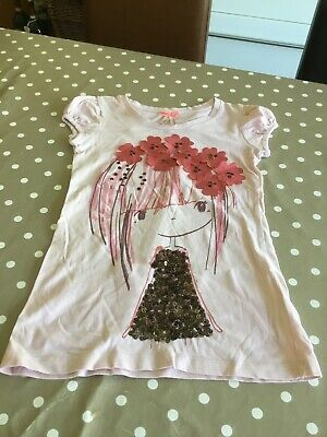 Girls Tshirt Age 6 Years NEXT Pink Sequins Flowers Sewn On Front Long Line ExCon