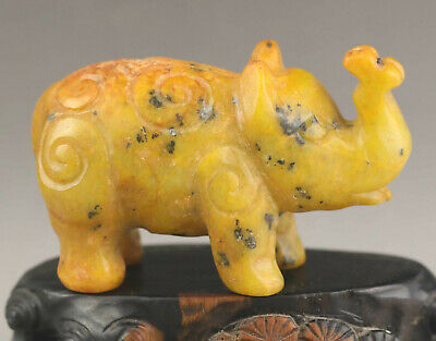 Chinese old natural jade hand-carved statue of elephant