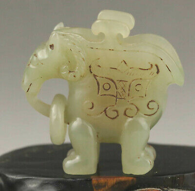 Old Chinese natural hetian jade hand-carved statue of sheep old cup with circle