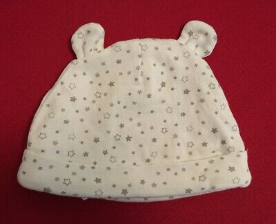 Brand New white grey stars unisex boy girl one size Baby Hat with ears