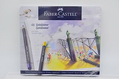 Faber-Castell 21 47 48 Goldfaber Studio Color Pencils Tin of 48 Made in Germany