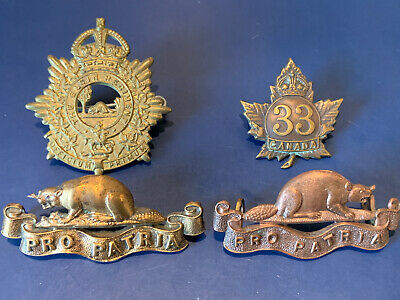 Original Canadian Pre /WW1/WW2 Era Cap & Collar Badges (RCR - 33rd Bn - Elgin)