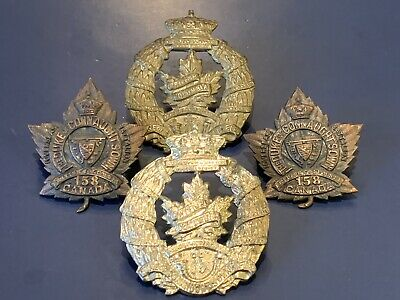 B.C. (Duke of Connaught's Own) collar (O.B. ALLAN) Tanged + 2xWW2 Era Cap Badges