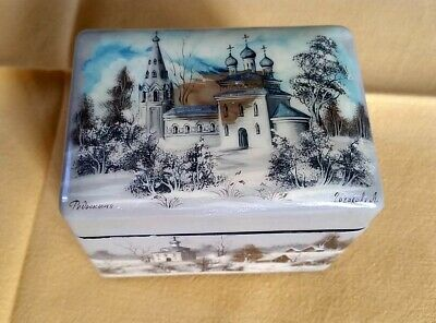 Fedoskino laquer mother of pearl double box double lid russian vintage