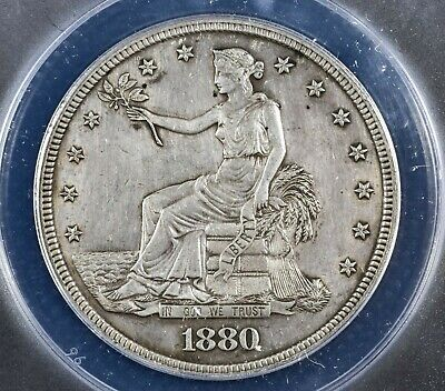 1880 PROOF Trade Silver Dollar T$1 Coin - Certified ANACS PF 58 Detail Cleaned