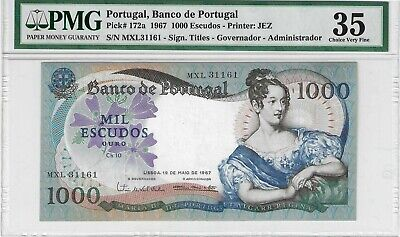 1967 1000 Escudos Portugal Pick #172a PMG 35  currency