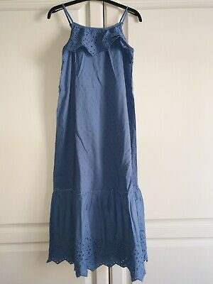 Marks & Spencer Girls Blue Maxi Summer Dress Age 7-8 Years Adjustable Straps