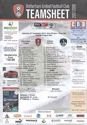 ROTHERHAM UNITED v OLDHAM ATHLETIC 23.09.17 LEAGUE 1  TEAM SHEET