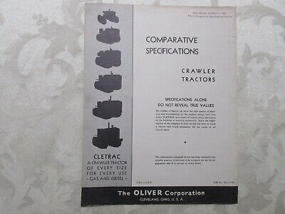 Rare Oliver Cletrac Crawler Comparative Specifications Brochure 4 Pages 1944