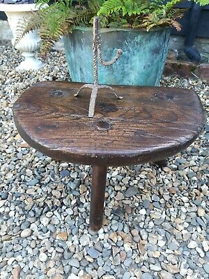 A Large Early 18th Century Elm Slab Top Welsh Hearth Stool
