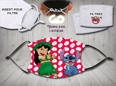 masque de protection adulte waterproof anti postillons - disney lilo et stitch 3