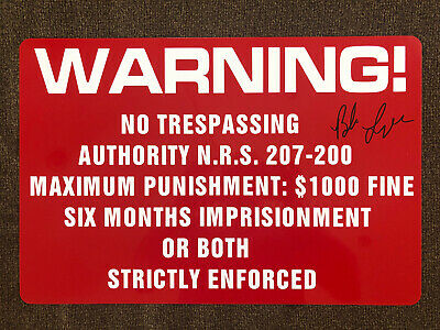 Bob Lazar - Signed Autograph Area 51 WARNING Restricted Area Metal Sign RARE