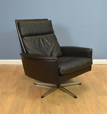 Mid Century Retro Vintage Danish Black Leather Swivel Lounge Armchair 1960s