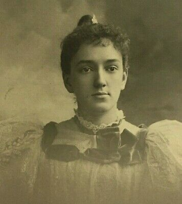 Antique Cabinet Card Photo Pretty Young Victorian Woman NY 1895 ID Mamie Spencer