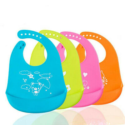 Waterproof Infants Feeding Baby Silicone Bibs Kids Apron Pick Rice Pocket