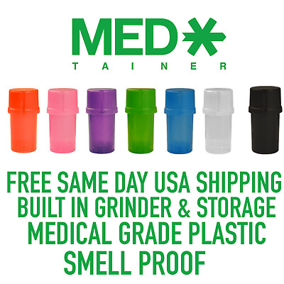 MedTainer w/ Built-In Herb Grinder AIR/WATER/SMELL TIGHT Medical Grade Plastic
