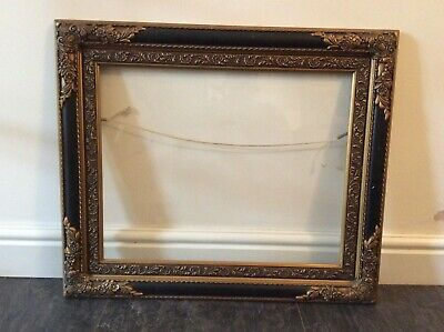 Antique Large Ornate Gilt Frame with Glass & Blacking - COLLECTION ONLY