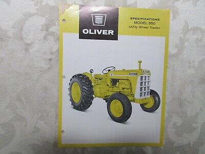 Rare Oliver 550 (Yellow) Tractor Sales Sheet 1963