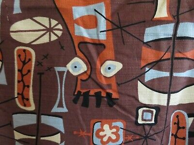 Most AMAZING Vintage Barkcloth era EAMES meets FLORIDA TIKI HUT BEACH Fabric