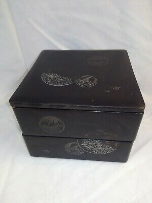 Vintage Chinese Hand Painted Etched Lacquered Wood Stacking Boxes