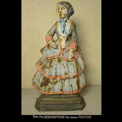 Antique Cast Iron Doorstop Colonial Lady Wearing Pleated Dress 10-3/4 lbs