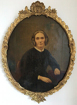 Antique 19th Century Oil On Canvas In Gold Gilt Frame Portrait Of A Lady
