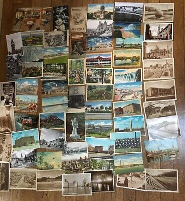 Lot 65 VINTAGE Color& Black+white Postcards(1 is from 1915)