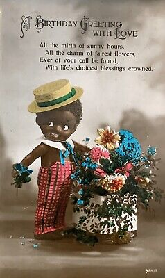 1920s Vintage Photo Postcard Cute Black Doll Holds Flowers For Birthday Greeting
