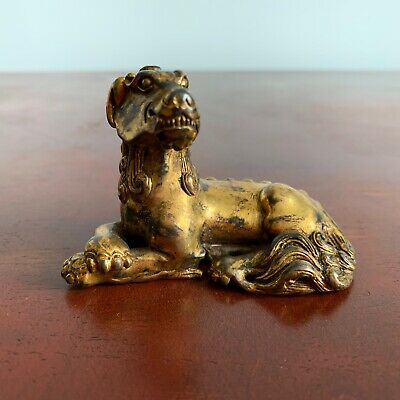 Chinese Antique Gilt (Gold) Bronze 'Bixie' Scroll Weight, Ming - Qing dynasty