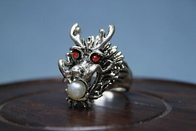 Decoration Exquisite Miao Silver Carve Dragon Head Auspicious Beautiful Ring