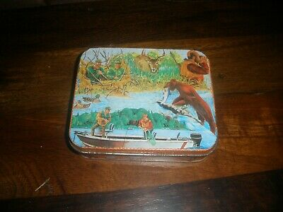Vintage Fishing Hunting Ducks Bear with Fish Litho Tin Collectible W/SINKERS