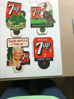 4 Cardboard Bottle Toppers All 7 Up Seven UP