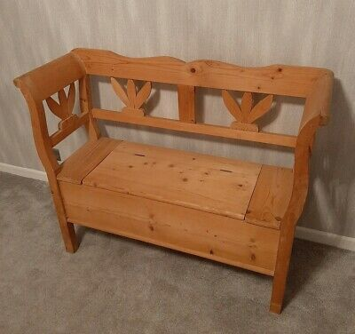 Antique Style Farmhouse Pine Bench-Settle