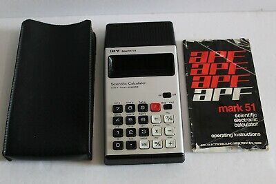 APF Mark 51 vintage scientific calculator blue led tested pouch instructions