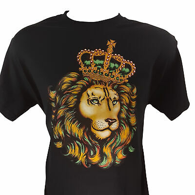 Lion With the Crown on His Head Black T Shirt