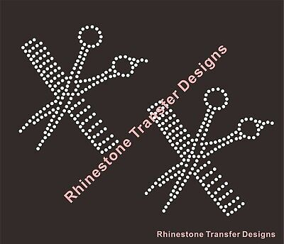 SCISSORS AND COMB  SPARKLY RHINESTONE IRON  ON TRANSFERS HOT FIX HAIR STYLIST