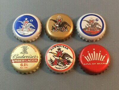 6 Budweiser beer bottle caps used 6 different Apollo, Copper Lager, Retro, Amber