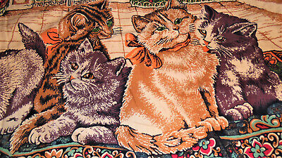 "Vintage Red Velvet Kitty Cat Kitten Wall Hang Tapestry Rug 40"" x 20"""