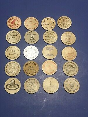Mixed Lot of 20 Vintage WOODEN NICKELS Wood Coins Tokens.free shipping
