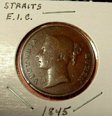 1845 STRAITS SETTLEMENTS ONE CENT  Rare World Coin