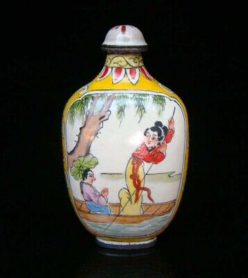 Collection 100% Handmade Painting Brass Cloisonne Snuff Bottles People 021