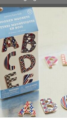 NEW in Box 40 Pc Pottery Barn Kids Wooden Magnetic Letters