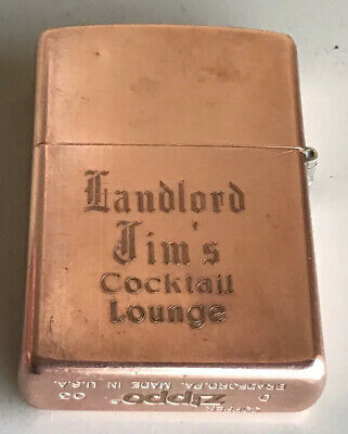 2003 Zippo Solid Copper Lighter Landlord Jim's Cocktail Lounge Great Condition