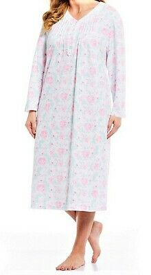 "New Miss Elaine Cuddle Knit Floral L/S 49"" Long Ballet Nightgown Gown $54 3X 3Xl"