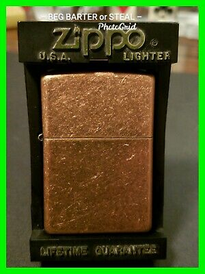 A 03 Copper Colored Zippo Lighter With Box / Case Excellent Condition UNFIRED