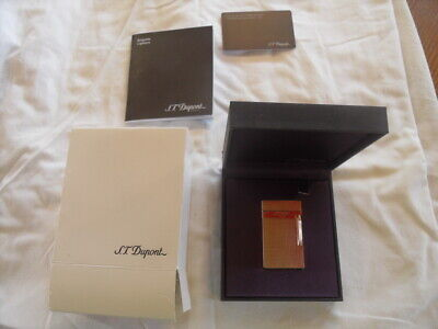ST Dupont Lighter Rose Gold Hobnail pattern in box with papers