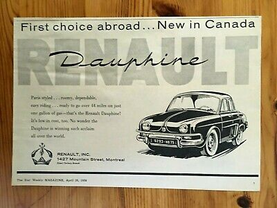 Free Shipping Canada Canadian Ad 1958 Renault Car Dauphine New In Canada