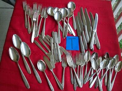 Silverplate Flatware 59 Pc Oneida Community Grosvenor 1921 Service 7 Monogram G